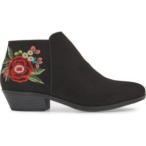 Sam Edelman Rose Embroidered Black Petty Booties 7
